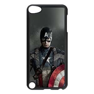 Funda de plástico Af63 Capitán América Héroe iPod Touch 5 casos funda funda caja del teléfono celular negro cubren ALILIZHIA06786
