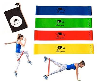 Baby Fit Gym Resistance Loop Workout Bands, Set of 4, Instructional Booklet, Carry Bag, Online Video Challenge