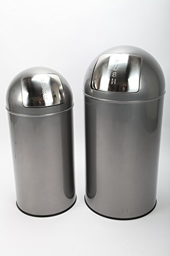 2 x point-home Mülleimer Abfalleimer Push Bin 36+52 L Stahl lackiert graphit