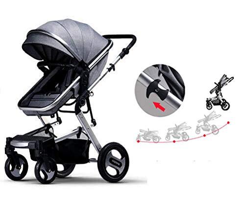 幼児用カーシートキャリーコットとベビーカー付きのトラベルシステム1台につき3台のベビートロリー横置き位置カップホルダー付き25kgまでの軽量折りたたみバギー、レインカバー、グレー   B07TSYJTPZ