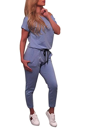 Fixmatti Teen Girl 1 PC PE Class Clothes Short Sleeve Waisted Sport Yoga Running Sweatsuit (Rompers Teenager)