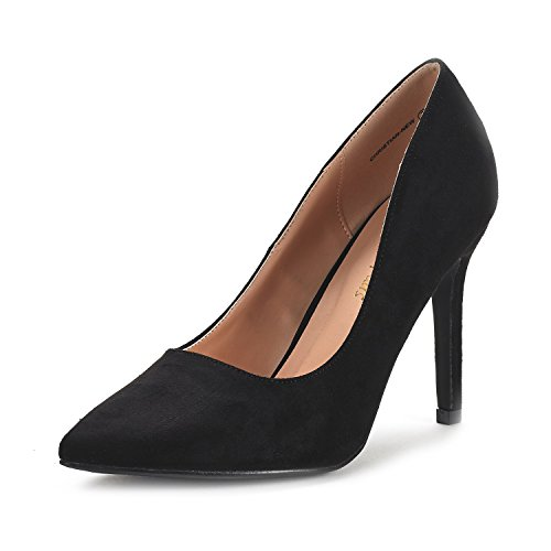 Dream Pairs Women's Christian-New Black Suede High Heel Pump Shoes - 7 M US