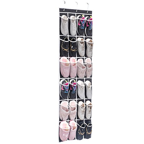 Large Product Image of Over the Door Shoe Organizer, MaidMAX 24 Mesh Pockets Single-sided Hanging Shoe Storage Rack with Hooks