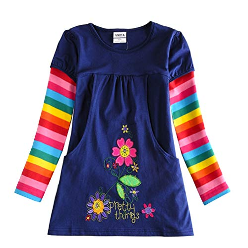 VIKITA Toddler Girl Flower Dress Cotton Long Sleeve Knee Length Little Girls Dresses H5802LONG 4T