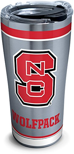 (Tervis 1297795 NC State Wolfpack Tradition Stainless Steel Insulated Tumbler with Clear and Black Hammer Lid 20oz Silver)