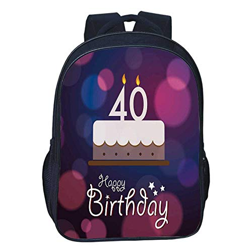 40th Birthday Decorations Durable Double black backpack,Big Color Dots and Graphic Cake Candles Hand Writing Stars For classroom,11.8