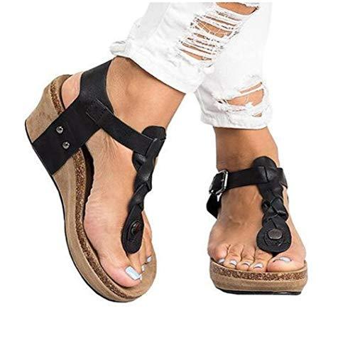 (MEIZOKEN Women's Wedge Sandals Summer Open Toe Slingback Shoes Fashion Buckle Ankle Strap Platform Sandals Black)