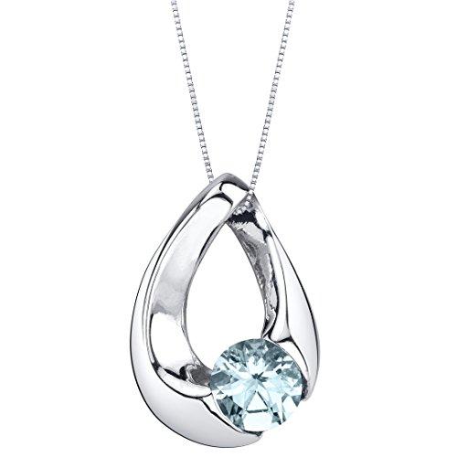 (Aquamarine Sterling Silver Slider Pendant Necklace)