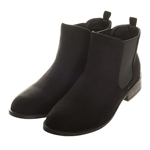 PAIGE. Low Block Heel Classic Chelsea Boot BLACK SUEDETTE gDN3EQWYQn