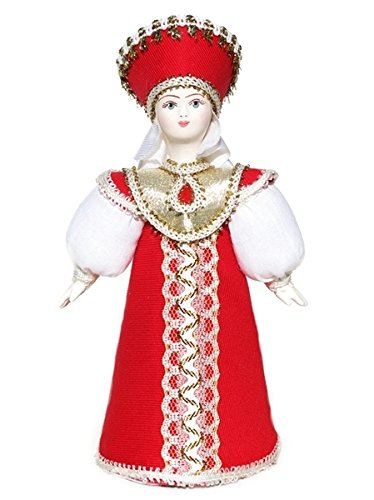 [Russian Porcelain Costume Doll Red Sarafan and Kokoshnik Queen Small Princess] (Russian Princess Costumes)