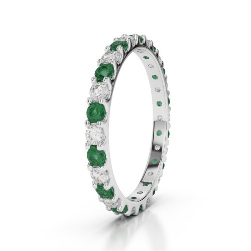 Or blanc 18carats 0,84CT G-H/VS sertie de diamants ronds découpé Émeraude et bague éternité Agdr-1104