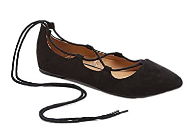 Charles Albert Ghille Lace Up Pointy Toe Leg Tie Ballet Flat (6, Black Vegan Suede)