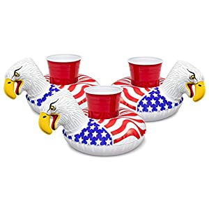 GoFloats Inflatable Pool Drink Holders (3 Pack) Designed in the US – Huge Selection from Unicorn, Flamingo, Palm and…
