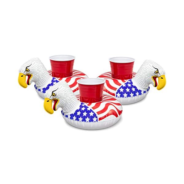 GoFloats Inflatable Pool Drink Holders (3 Pack) Designed in the US | Huge Selection from Unicorn, Flamingo, Palm and… 3