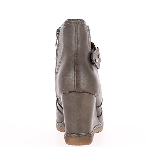 taupe ChaussMoi boots Ankle heel woman 8cm H8618q