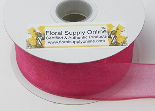 Ribbon Organza Sheer Fuchsia (Wired Edge Sheer Organza Craft Ribbon, (1-1/2 inch x 25 Yard Spool, Fuchsia))