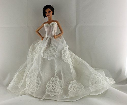 White Floral Wedding Dress with a long train with Veil and Gloves Made to Fit Barbie Doll - Barbie Gloves
