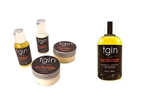 TGIN Moist Collection for Natural Hair Set and TGIN 4 oz. Argan Replenishing and Hair Body Serum for Natural Hair bundled by Maven Gifts by Olla Beauty Supply Inc.