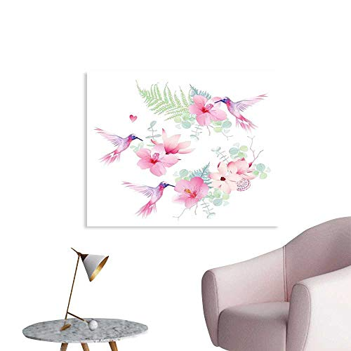J Chief Sky Hummingbirds Decor Wall Paper Tropical Flowers with Flying Hummingbirds Wild Nature Bare Branches Blooms Decor Sticker W20 xL16 ()