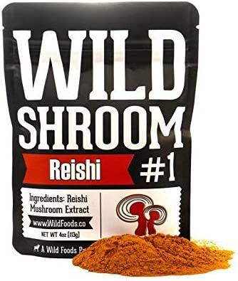 Reishi Mushroom Extract 10 1 Superfood Powder by Wild Foods Fruiting Bodies Only Adaptogenic Herb for Immune System, Sleep Aid, and Nootropic Mental Performance 4 Ounce