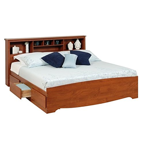 (Prepac Monterey King Bookcase Platform Storage Bed in Cherry )