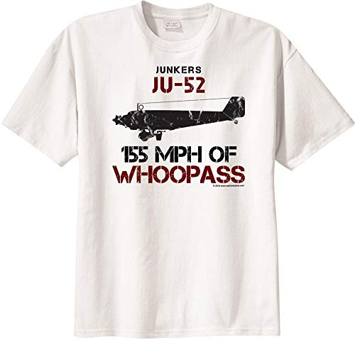 WarbirdShirts Boys' Junkers Ju 52 155 MPH of Whoopass Short Sleeve T-Shirt Youth Large White (Ju 52 Junkers)
