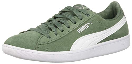 PUMA Women's Vikky Sneaker, Laurel Wreath White, 8 M US - Leather Green Stripe Sneakers