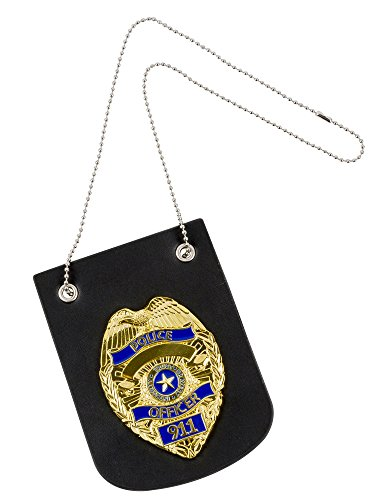 Police Officer Badge with Leather Mount & Chain Necklace | Heavy Duty Quality Badge, Makes a Great Toy | Adult or Kid's Costume
