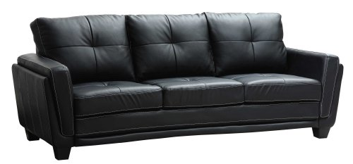 Charmant Amazon.com: Homelegance 9701BLK 3 Dwyer Sofa, Black Vinyl Fabric: Home U0026  Kitchen