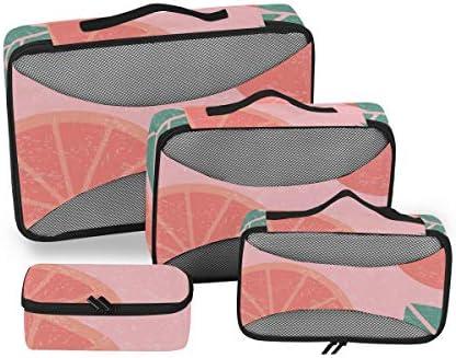 トラベル ポーチ 旅行用 収納ケース 4点セット トラベルポーチセット アレンジケース スーツケース整理 葉柄 ピンク 収納ポーチ 大容量 軽量 衣類 トイレタリーバッグ インナーバッグ