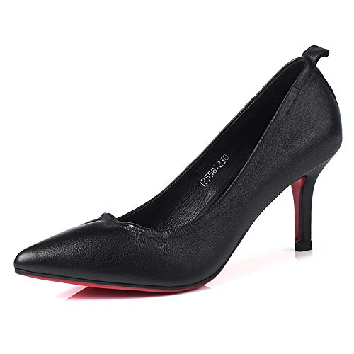 Shoes Mouth High Pointed Single alto tacón Work PU zapatos Heel de Shallow Stiletto Women Shoes Women's Shoes Professional Black Yukun Black qPwfgzZXxf