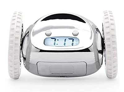 Nanda Clocky Robot Alarm Clock Clocky's Hip, Innovative and Charming - Chrome