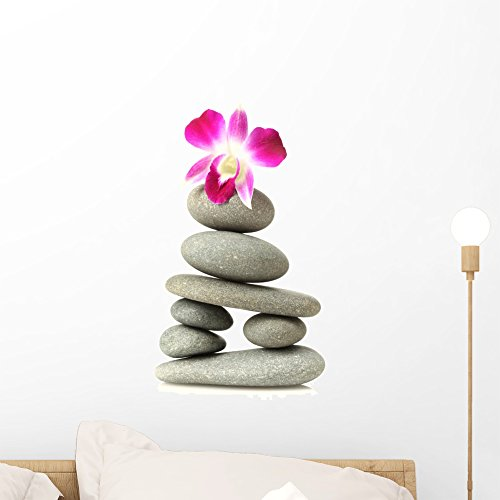 Orchid Stacked Stones Wall Decal by Wallmonkeys Peel and Stick Graphic (18 in H x 11 in W) WM46820 (Delicate Orchid)