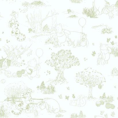 York Wallcoverings Disney Kids DK5843 Pooh & Friends Toile Wallpaper, White/Green (Wallpaper Border Tigger)