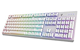 Tesoro Gram Spectrum Low Profile G11SFL Red Mechanical Switch Single Individual Per Key Full Color RGB LED Backlit Illuminated Mechanical White Gaming Keyboard TS-G11SFL W (RD)
