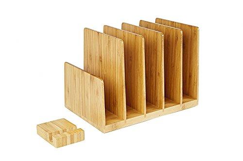 Sorter Letter (Kenley Desktop Organizer - Bamboo Wood File & Folder Sorter - Desk Tray with 5 Vertical Sections & Phone Holder - Storage Shelf Rack Stand for Office Supplies Binders Letters Paper Documents Magazines)