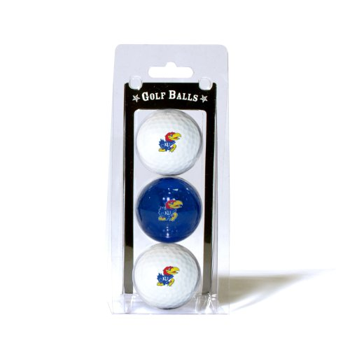 Team Golf NCAA Kansas Jayhawks Regulation Size Golf Balls, 3 Pack, Full Color Durable Team Imprint (Kansas Golf Ball)