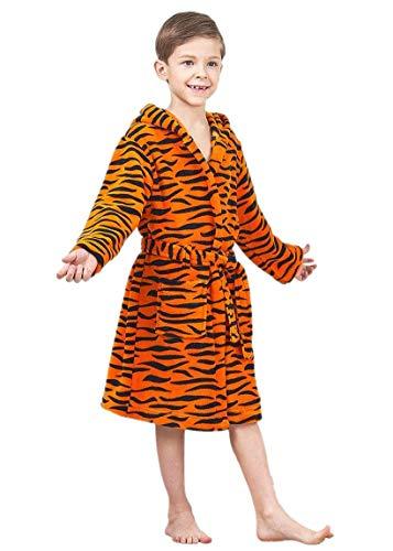 JuneBloom Boys Kids Hooded Bathrobe Printed Yellow Tiger Stripes Fleece Sleep Loungewear Robe 3 Years Old