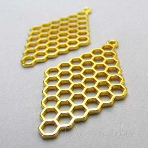 Pendant Jewelry Making Honeycomb Charms - 37mm Gold Plated Beehive 20pcs