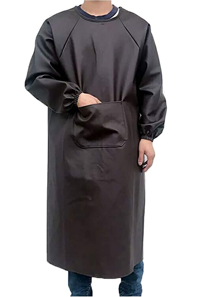 Elezay Leather Apron Waterproof Oil-proof Extra Long Apron with Sleeve Thicken Adult
