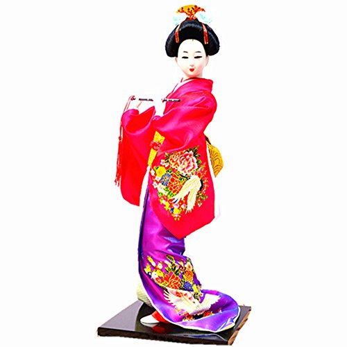 "(JG.Betty 14"" 38cm Christmas Dolls Decorative Doll Japanese Folk Kimono Geisha Doll Maiko Doll Puppet Stand on Base for Decorative Home and Hotel Gifts Doll (14 Inch, Rose Red Doll JD019))"