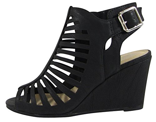 Select 7 M Peep B Wedge NBPU Caged Cutout negro Laser 's Slingback Toe Women Natural Buckled Cambridge Nbpu Ankle Bootie US f4dnxqCwf