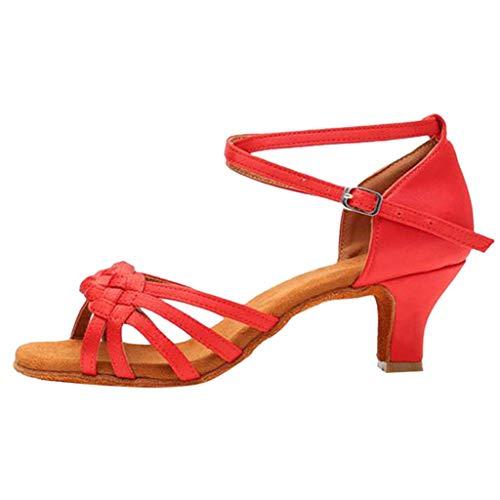 Respctful✿Women Fashion Dance Shoe Pee Toe Mid Heel Pumps PleaCrystal Satin Wedding Dress Shoes - Eel Pump