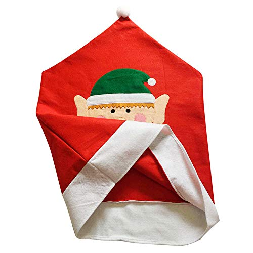 Agordo Dinning Room Cute Elf Red Chair Cover Back Seat Decoration Christmas Supplies GW by Agordo