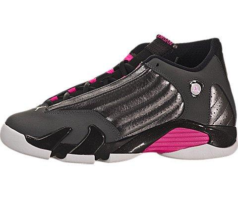 Nike Jordan Kids Air Jordan 14 Retro GG Mtlc Drk Gry/Hypr Pnk/Blck/Wht Basketball Shoe 4.5 Kids US (Jordan 14 Retro Women)