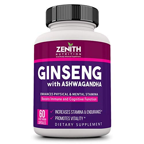 Zenith Nutrition Ginseng With Ashwagandha   60 Caps