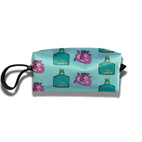 RZM YLY Absinthe and Love Print Lightweight Cosmetic Pouch Bag Trendy Jewelry Pouch Travel Cosmetic Bag Pouch with Zipper