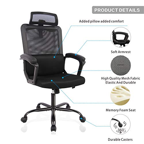 Computer chair with lumbar support and headrest rated 4 stars and higher