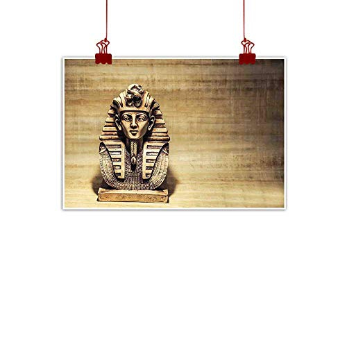 Outdoor Nature Inspiration Poster Wilderness Egyptian,Stone Pharaoh Tutankhamen Mask Sculpture with Papyrus Background Design,Brown and Pale Brown 48