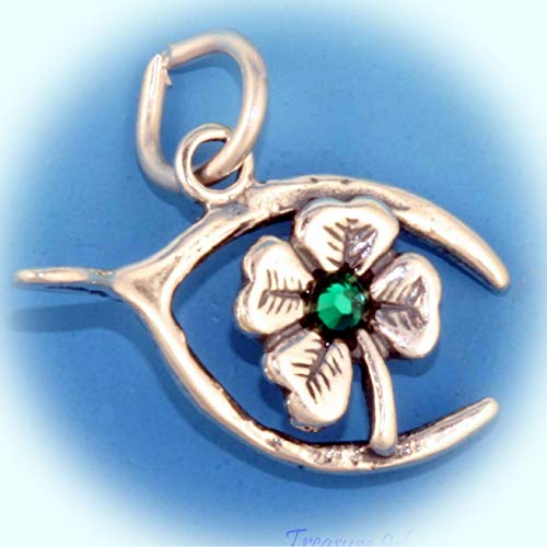 Lucky Shamrock Clover with Green Crystal and Wishbone .925 Sterling Silver Charm Vintage Crafting Pendant Jewelry Making Supplies - DIY for Necklace Bracelet Accessories by CharmingSS]()